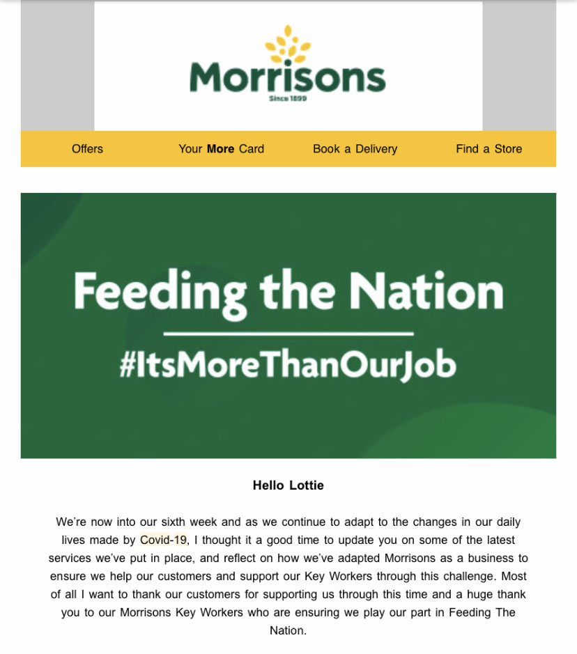 Morrisons COVID-19 Email Marketing | PPP Marketing